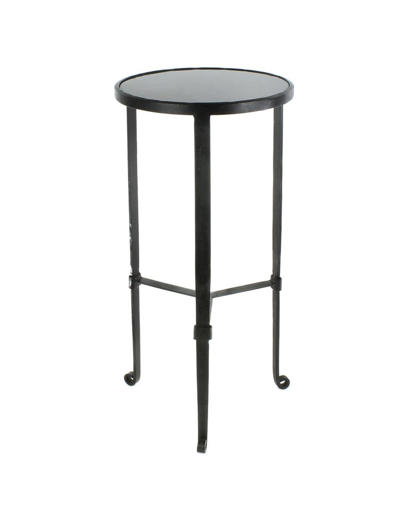 HomArt Savoy Iron & Stone Side Table - Black with Grey Stone
