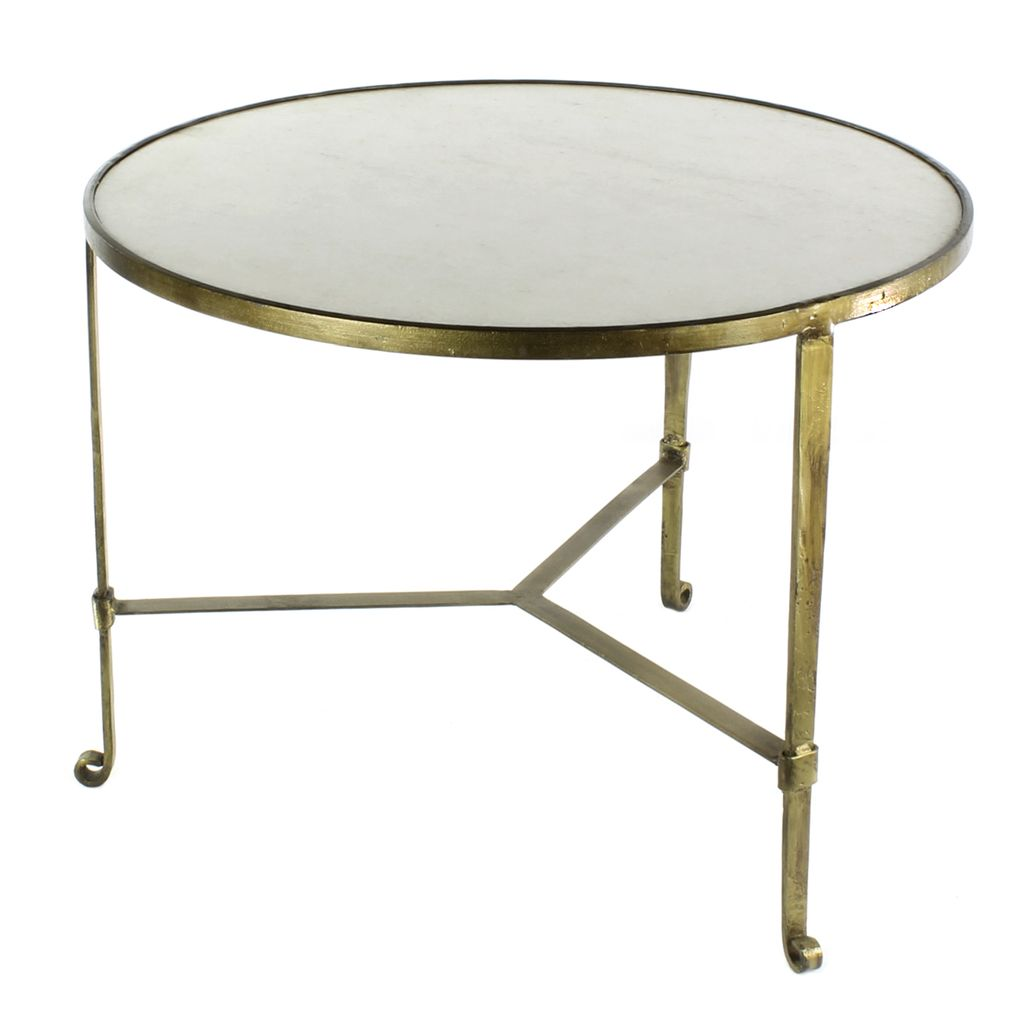 Homart Savoy Iron Stone Coffee Table Antique Brass With White