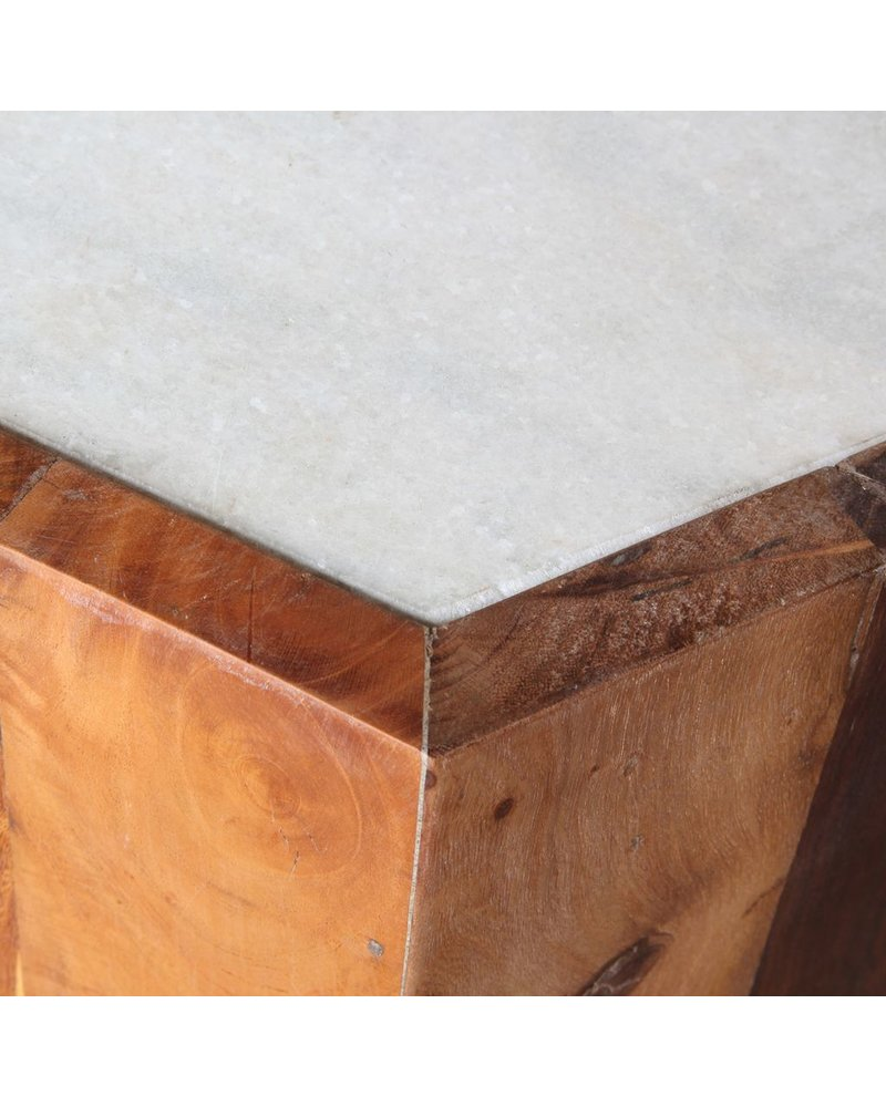 HomArt Reclaimed Wood Hexagon Table with Marble Top