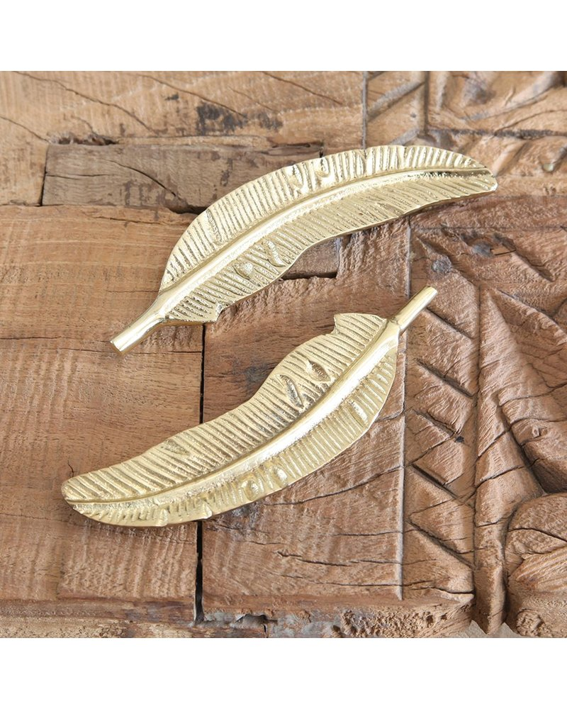 HomArt Cast Metal Brass Feather - Set of 2