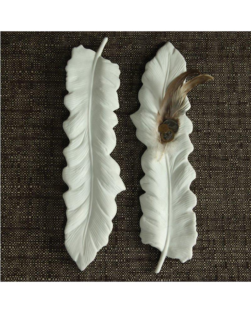 HomArt Ceramic Feather Tray White