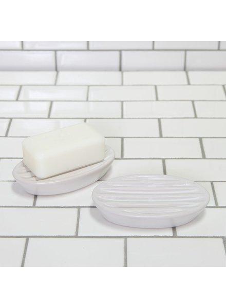 HomArt White Luna Oval Ceramic Soap Dish - Set of 2