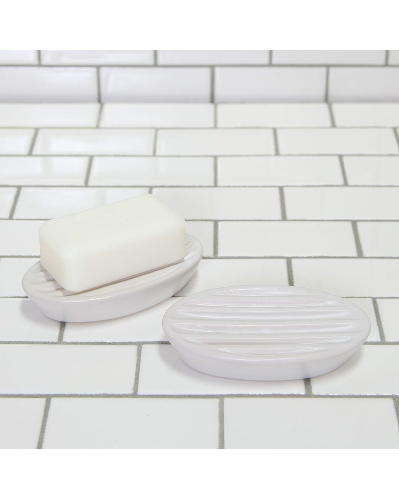 HomArt Luna Ceramic Soap Dish-Oval-White