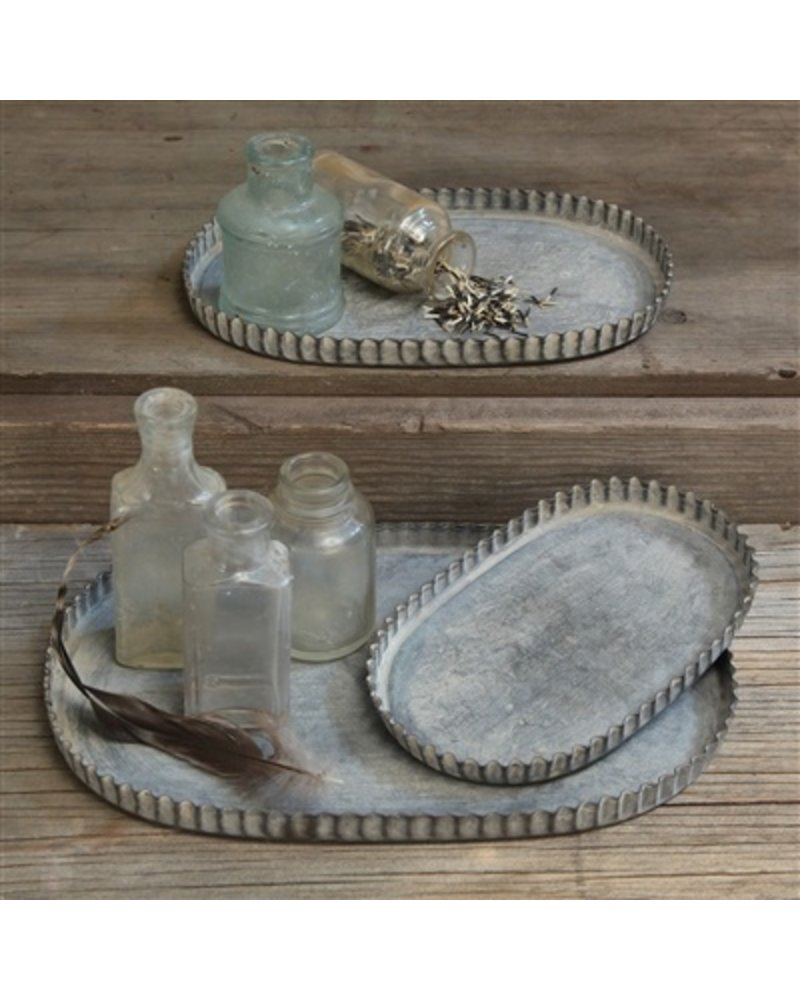 HomArt Ross Fluted Tray - Oval - Sm - Set of 2