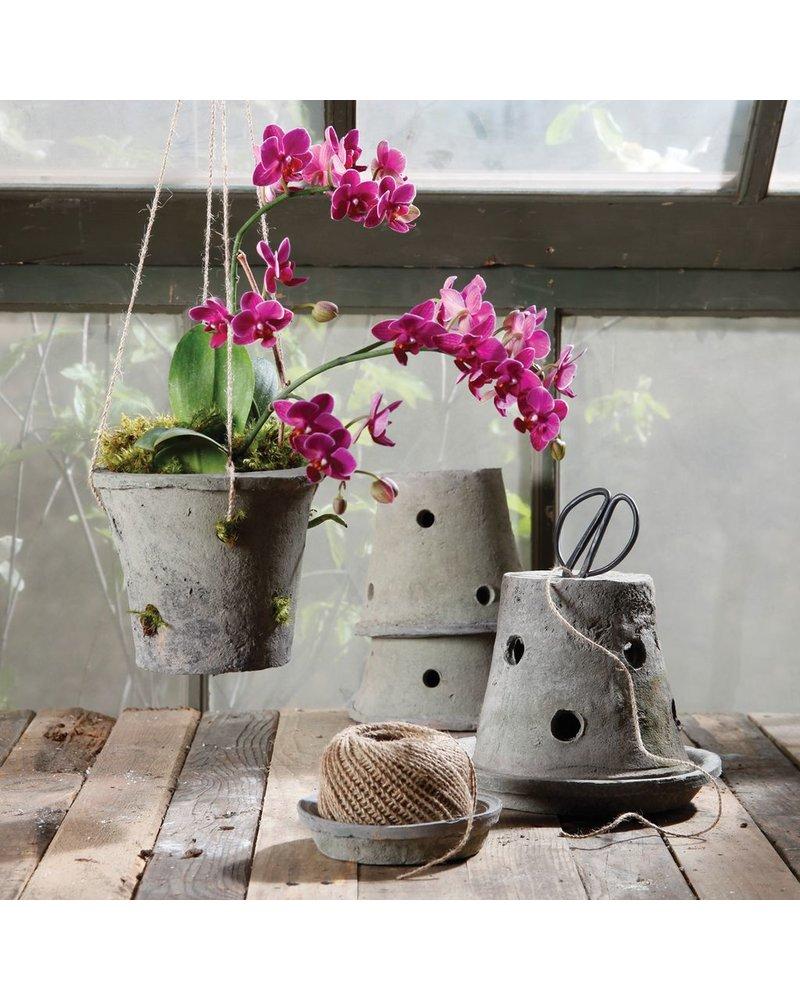 HomArt Rustic Terra Cotta Orchid Pot Moss Grey