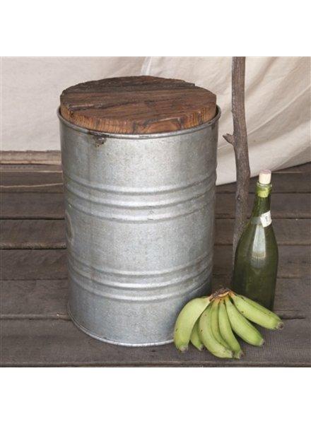 HomArt Salvaged Metal Drum Stool With Wood Seat