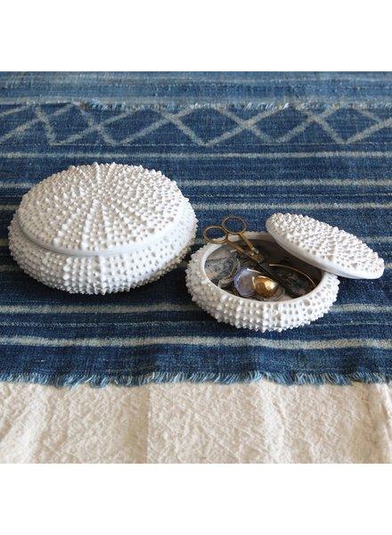 HomArt White Sea Urchin Round Ceramic Box - Lrg