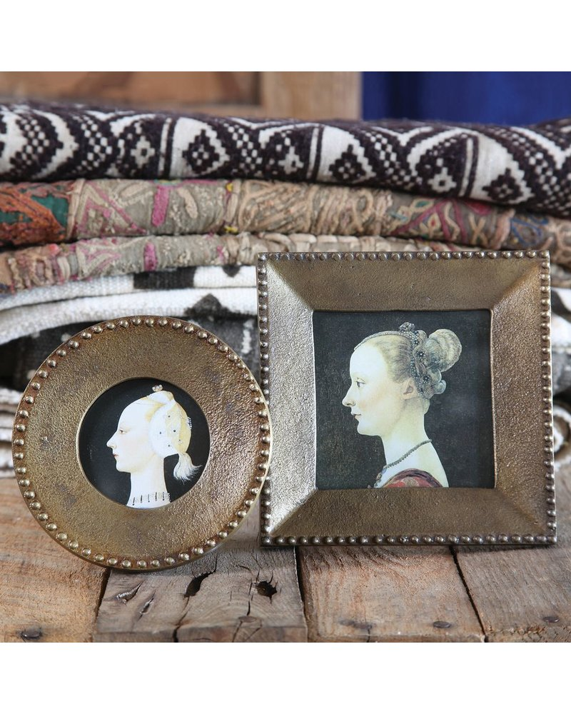HomArt Erica Cast Metal Photo Frame - Brass - Rnd 3 Inch