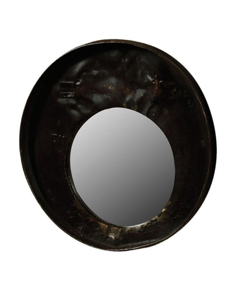 HomArt Reclaimed Metal Drum Lid Mirror Black