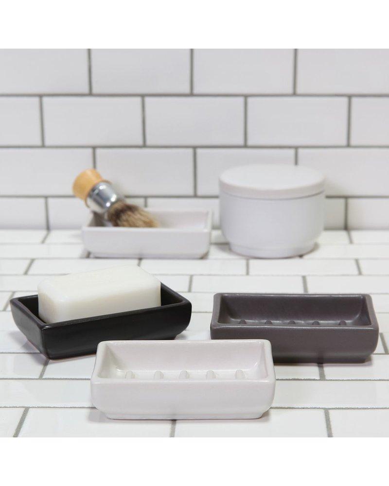 HomArt Black Luna Rectangle Ceramic Soap Dish -  Set of 2
