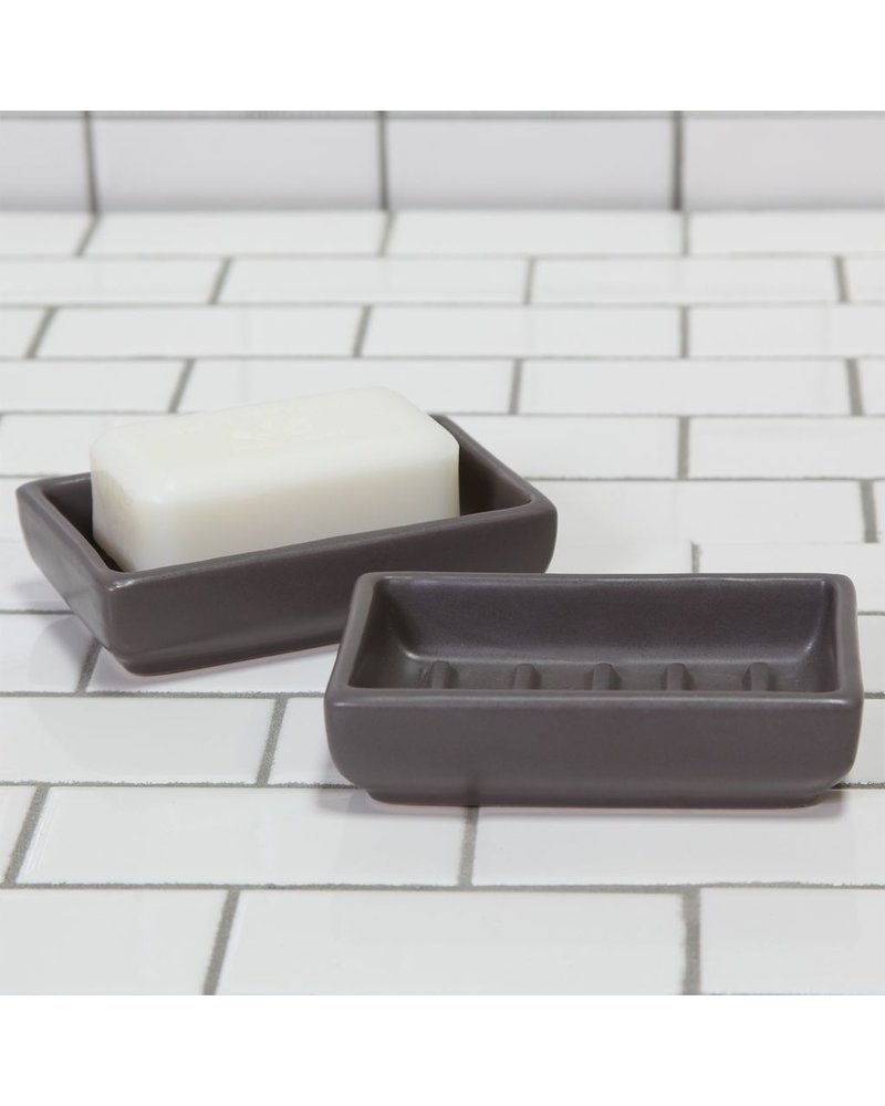 HomArt Grey Luna Rectangle Ceramic Soap Dish -  Set of 2