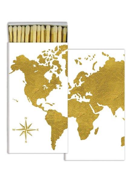 HomArt Gold Foil Continents HomArt Matches - Set of 3 Boxes