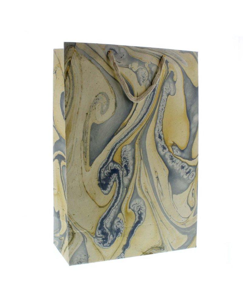 HomArt Marbleized Paper Gift Bag - Lrg-Blue