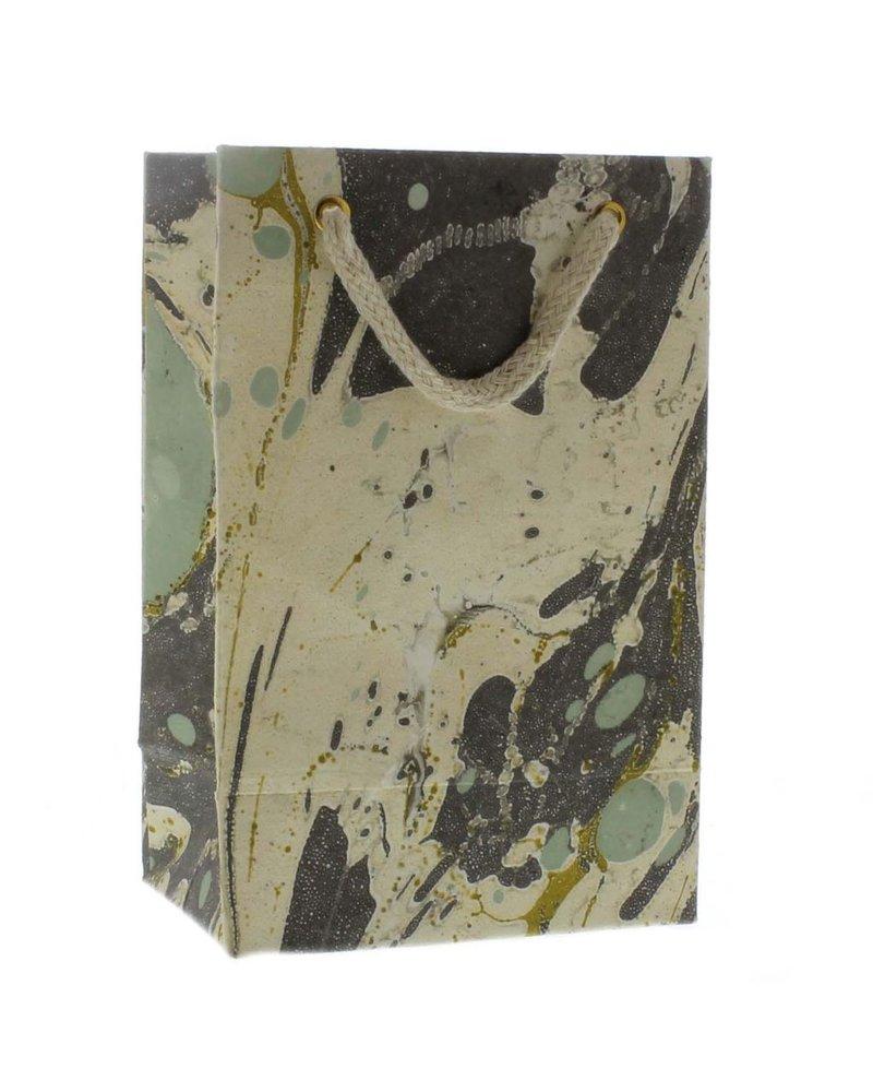 HomArt Marbleized Paper Gift Bag - Sm-Aqua