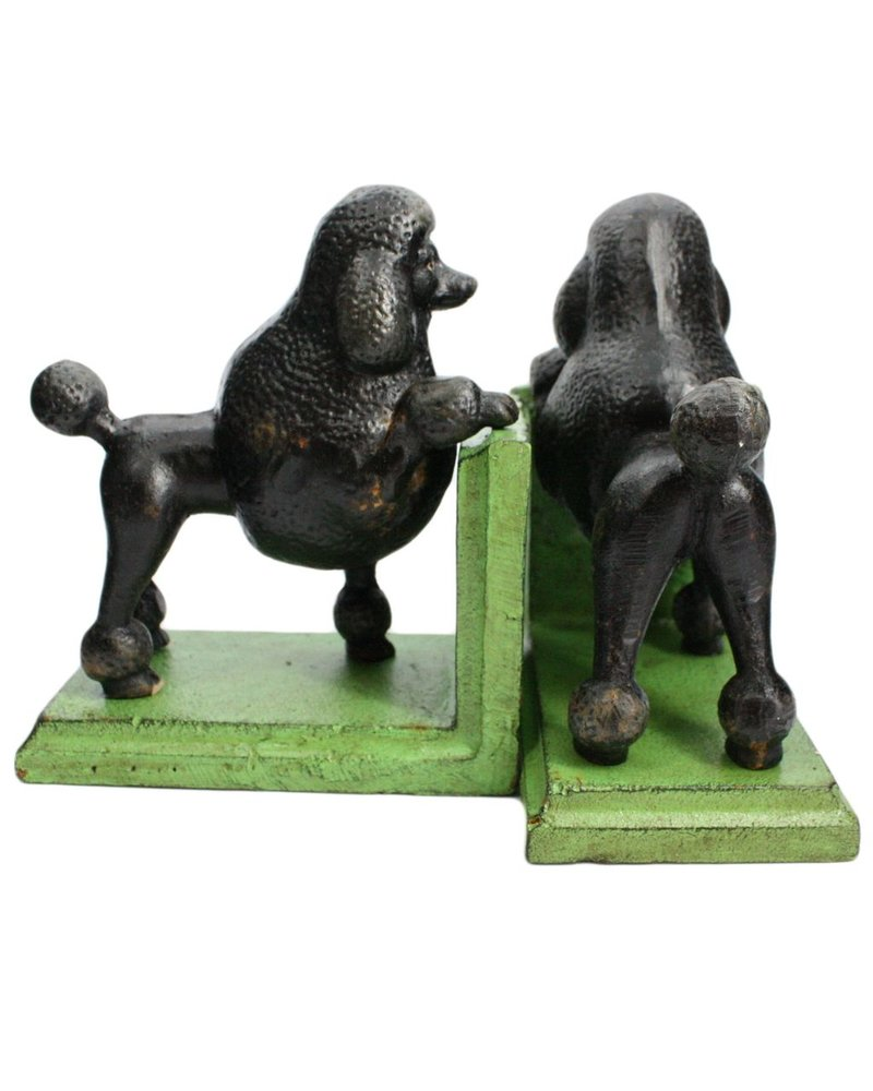 HomArt Gomez the Poodle Bookends - Cast Iron Black Green