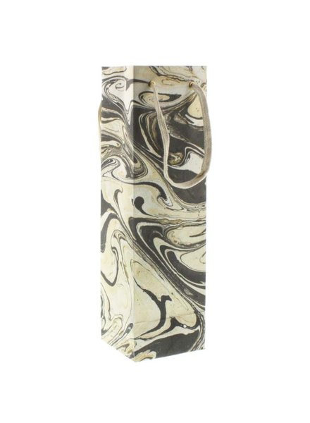 HomArt Grey Marbleized Paper Wine Bag