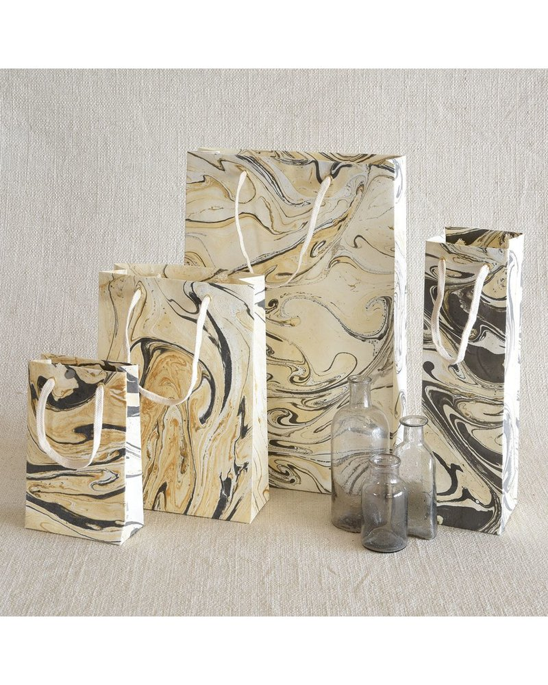 HomArt Grey Marbleized Paper Wine Bag - Set of 4 Bags