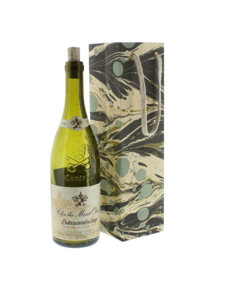 HomArt Aqua Marbleized Paper Wine Bag - Set of 4 Bags
