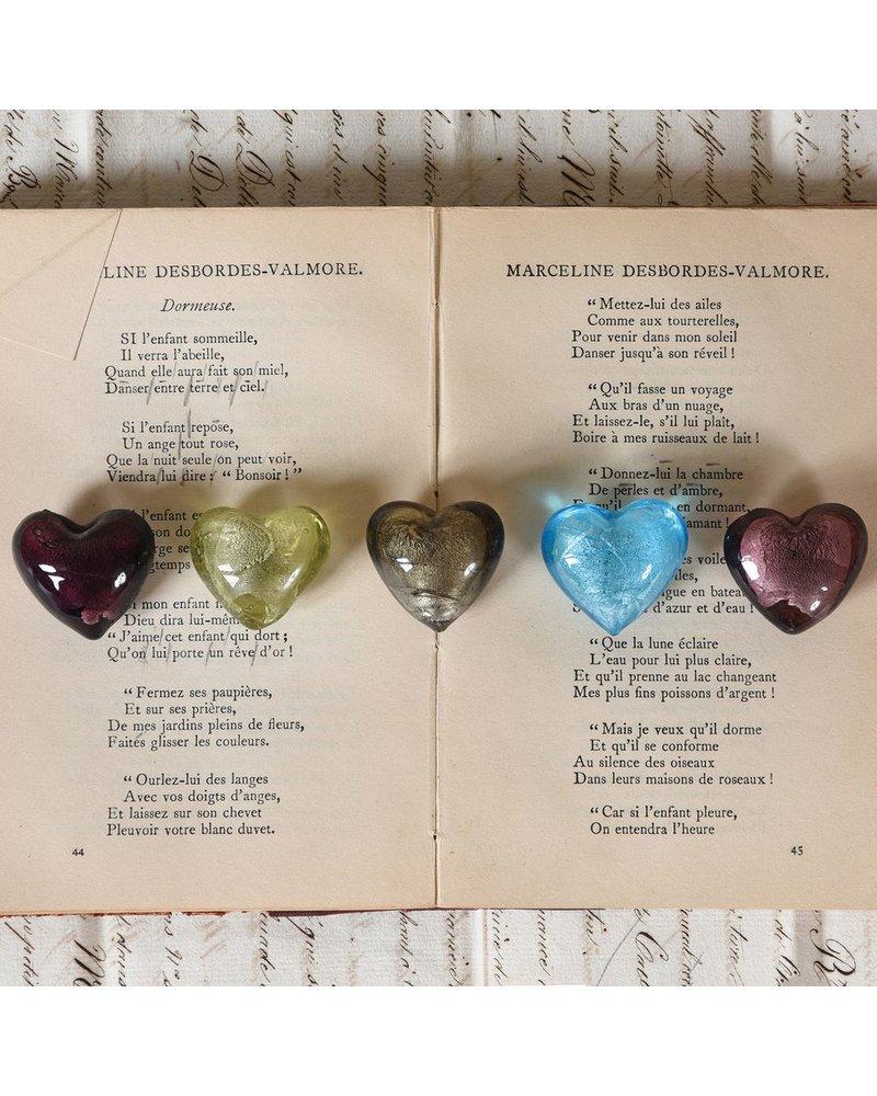 HomArt Venetian Glass Heart Platinum Set of 6