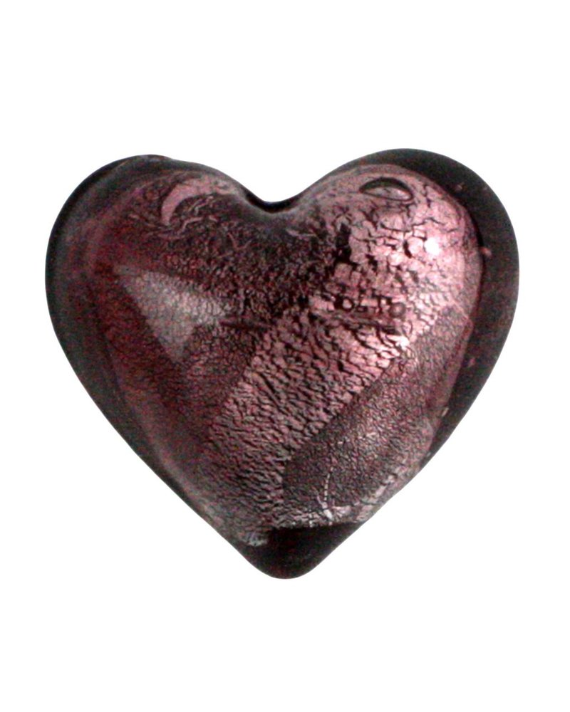 HomArt Venetian Glass Heart Pink Set of 6
