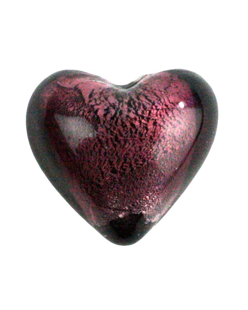 HomArt Venetian Glass Heart Amethyst Set of 6