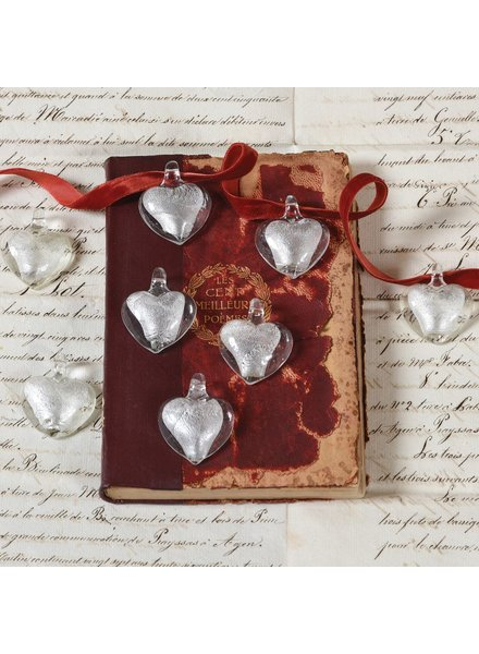 HomArt Silver Glass Wedding Heart with Loop Set of 6