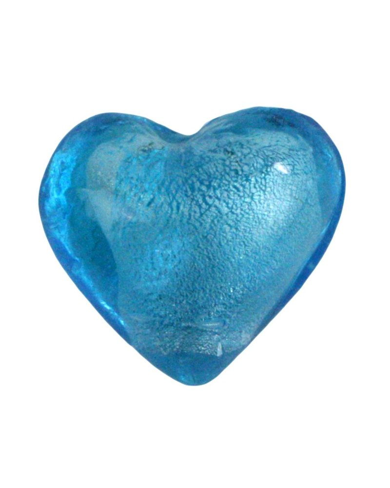 HomArt Venetian Glass Heart Sky Blue Set of 6