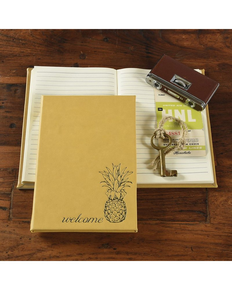 HomArt Embossed Durable Faux Leather Guest Book - Welcome