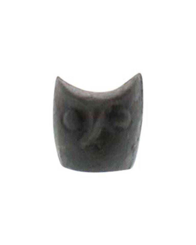 HomArt Miniature Owl Head Statue - Cast Iron - Set of 2