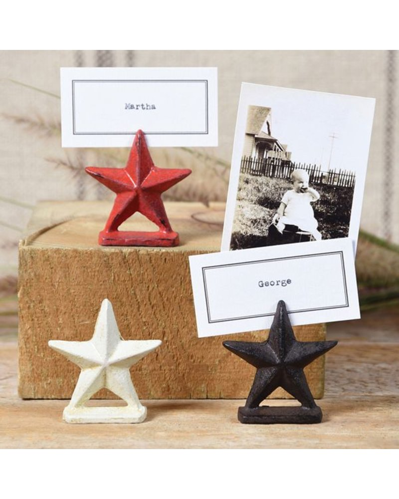 HomArt Brown Star Cast Iron Placecard Holder