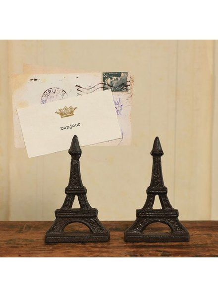 HomArt Eiffel Tower Cast Iron Place Card Holder - Set of 2