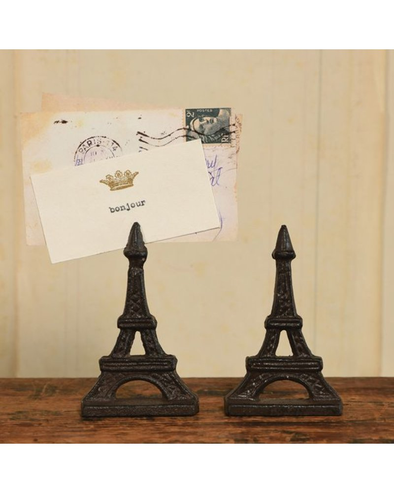 HomArt Eiffel Tower Cast Iron Place Card Holder - Set of 2