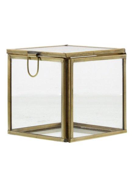 HomArt Pierre Demi Leaded Glass Box - Small Brass