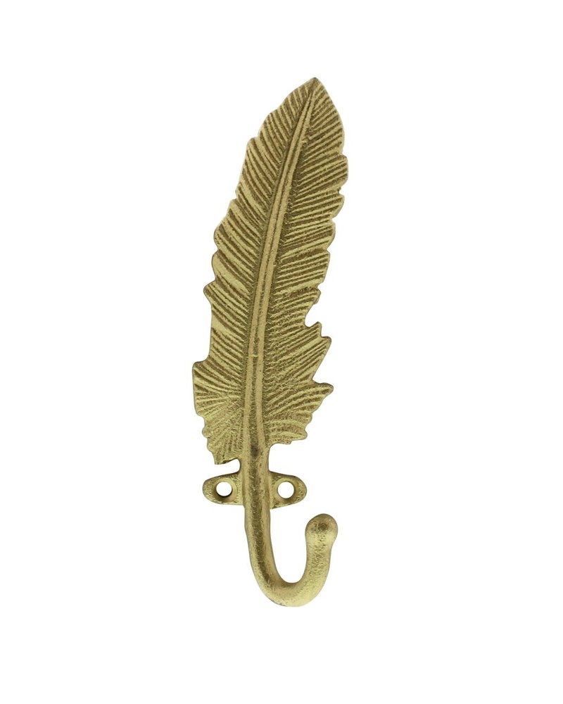HomArt Gold Feather Wall Hook - Cast iron - Set of 2