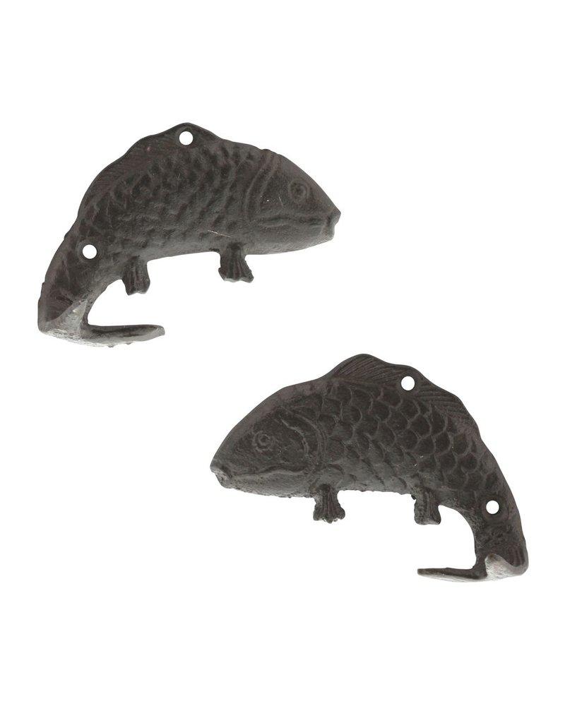HomArt Fish Wall Hooks - Cast Iron - Pair of 2