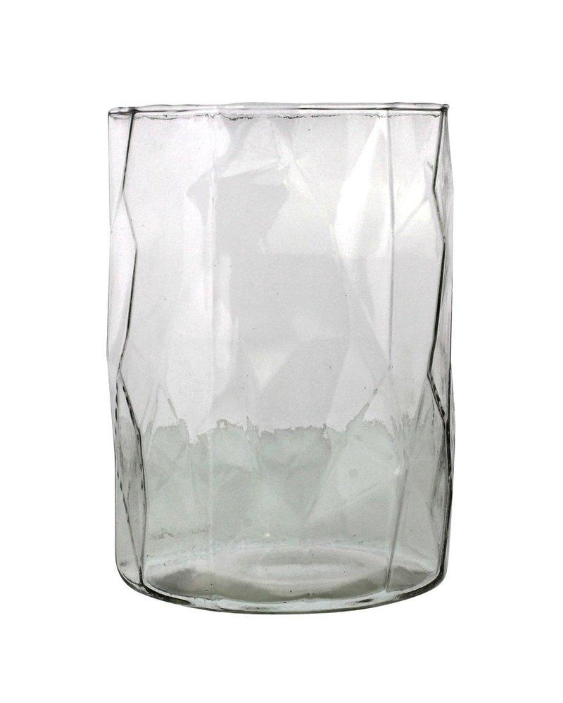 HomArt Fulton Faceted Glass Hurricane - Lrg