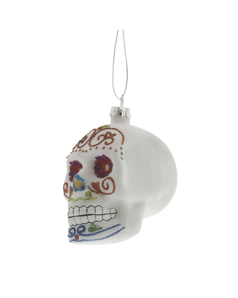 HomArt White Sugar Glass Skull Ornament