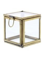 HomArt Pierre Demi Leaded Glass Box - Petite Brass