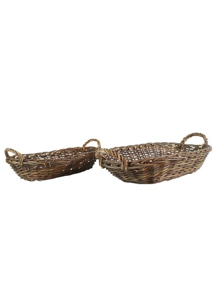 HomArt Willow Baskets Flat Oval Trays - Set of 2