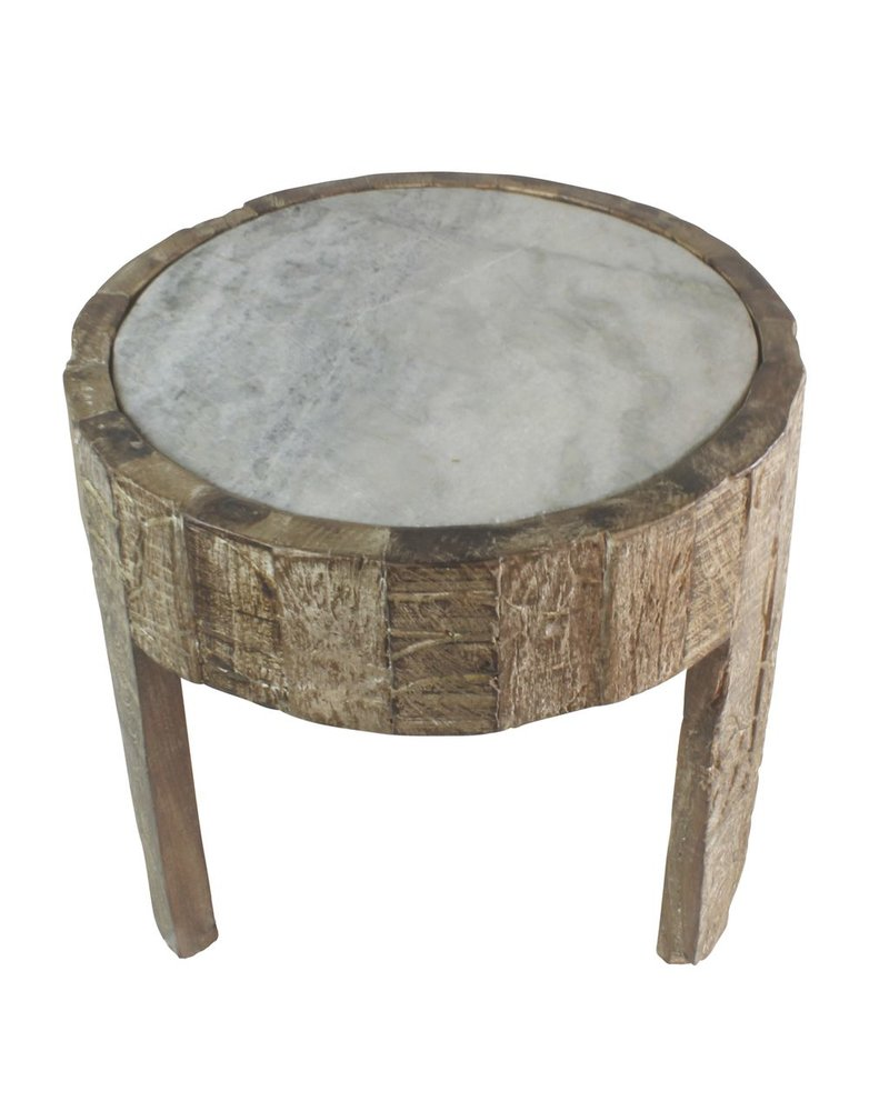 HomArt Portico Side Table with Marble Top