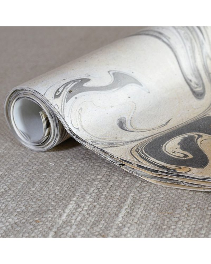 HomArt Grey Marbleized Paper Gift Wrap - Roll of 6 Sheets