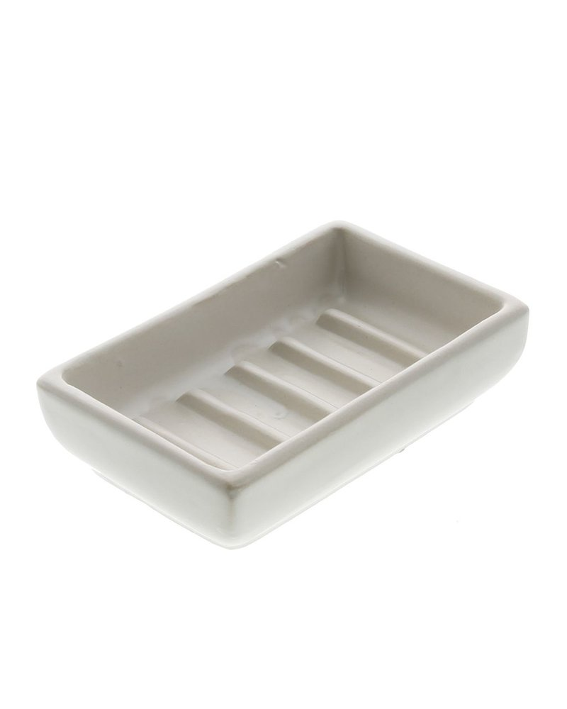 HomArt Luna Ceramic Soap Dish-Rect-White - Set of 2
