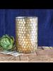 HomArt Mosaic Glass Hurricane - Lrg - Gold Luster