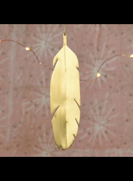 HomArt Feather Ornament, Brass - Brushed Brass