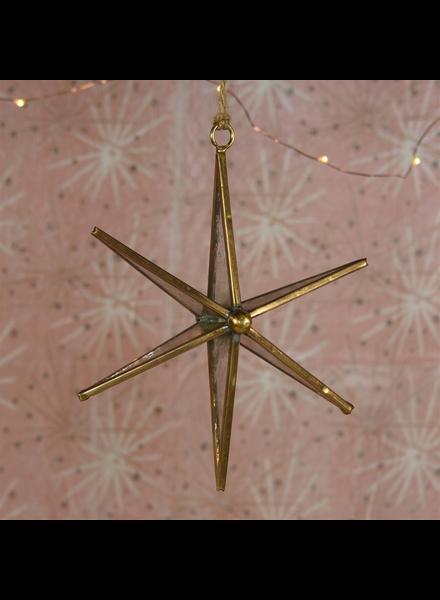 HomArt Antique Mirrored Star Ornament, Glass & Brass