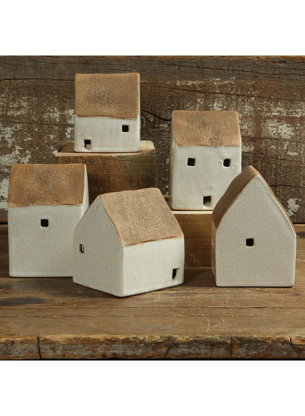HomArt Ceramic Cottages - Set of 5 Assorted - Sm - Antique White