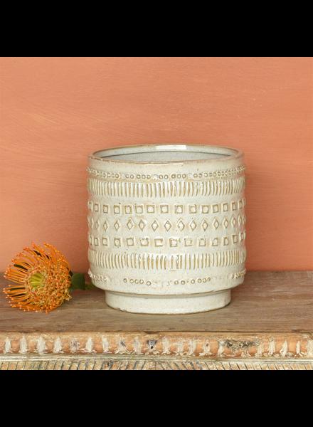 HomArt Peru Cachepot, Ceramic - Lrg - White