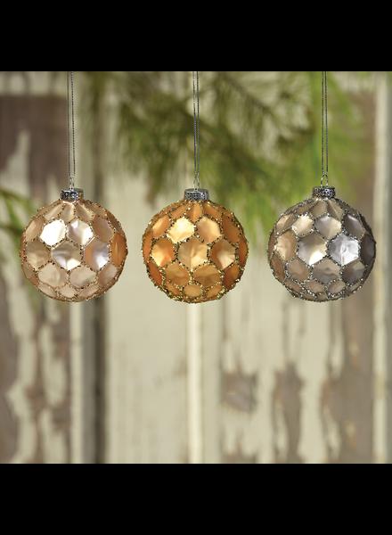 HomArt Honeycomb Glass Ornaments  - Set of 3