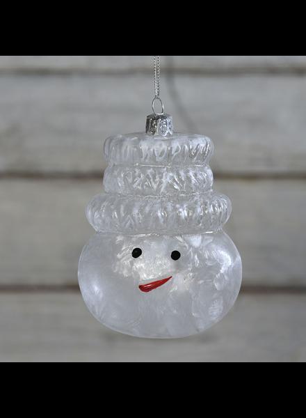 HomArt Snowman Head Glass Ornament - Set of 2
