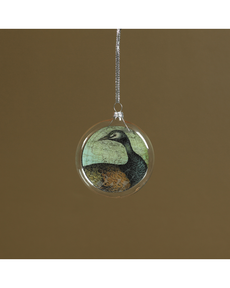 HomArt Collage Glass Ornament Peacock - Set of 2